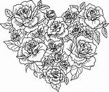 Coloring Roses Heart Printable Rose Pages Cute Flower Sheets sketch template