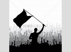 Man waving flag and crowd cheering Vector Image 2002221