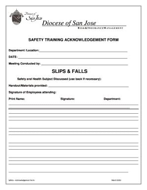 fillable dsj safety training acknowledgement form diocese of san jose dsj fax email