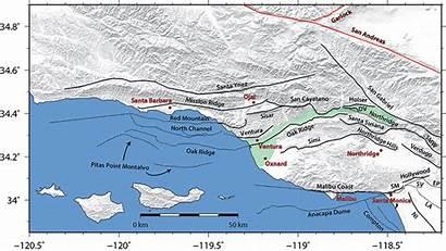Ventura Fault Map Basin Faults Transverse California