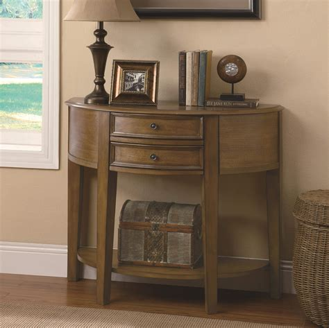 Uttermost Entry Tables by Accent Tables 2 Drawer Demilune Entry Table With Shelf