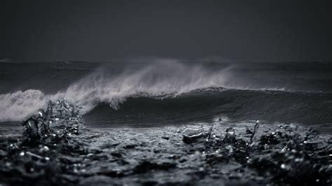 large beach waves  heavy rain tropical beach natural