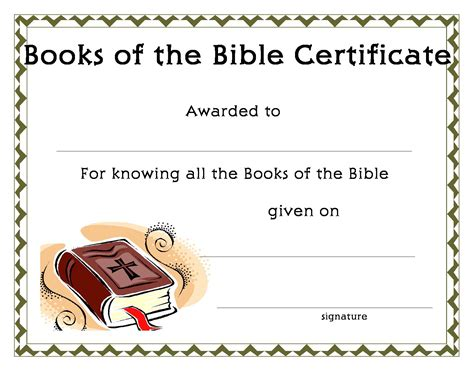 Of The Bible Certificate Www Certificatetemplate Org Books Of The Bible Certificate