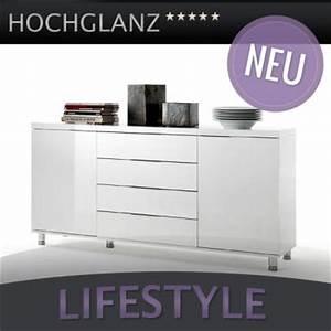 Sideboard Weiss Hochglanz Lack : neu modernes hochglanz sideboard lack weiss kommode chrom anrichte highboard ebay ~ Buech-reservation.com Haus und Dekorationen