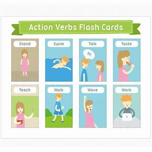 Memory Card Chart Children Learn English Flash Cards A4 Verbs Animals