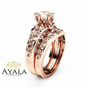 morganite wedding ring set 14k rose gold morganite rings With morganite wedding ring sets