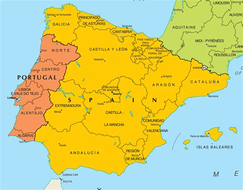 Carte Portugal Espagne by Portugal And Spain Mapsof Net