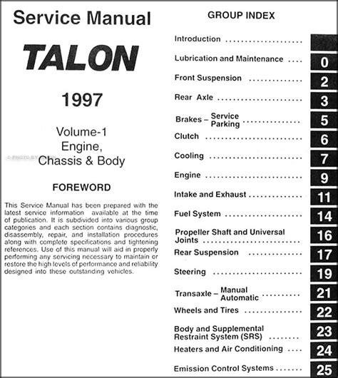 how to download repair manuals 1991 eagle talon electronic toll collection 1997 eagle talon repair shop manual original 2 volume set