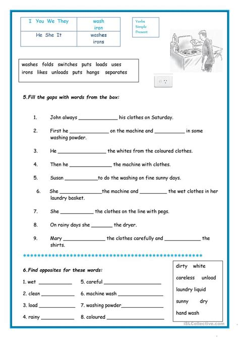 laundry worksheet free esl printable worksheets made by