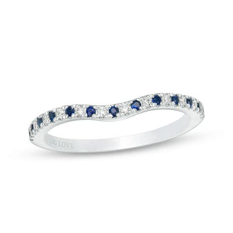 vera wang love collection blue sapphire and 0 07 ct t w diamond contour wedding band in 14k