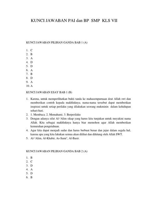 Min bab 4 nya kok nggak ada? Kunci Jawaban Agama Islam Kelas 8 Bab 4 Kurikulum 2013 ...