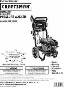 Craftsman 580752520 User Manual Pressure Washer Manuals