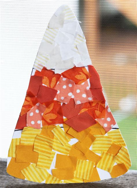 31 easy crafts for preschoolers thriving home 608 | fabric scrap candy corn