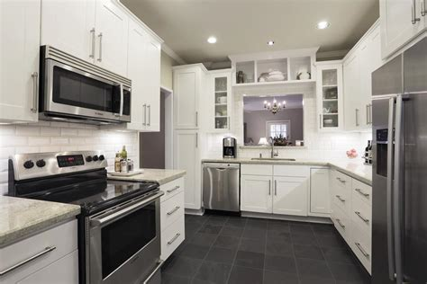 Kitchens with white appliances and dark cabinets, cream