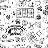 Casino Chips Hand Pattern Poker Drawing Drawn Dice Cards Seamless Chip Sketch Cigar Roulette Money Vector Objects Luck Whisky Drawings sketch template