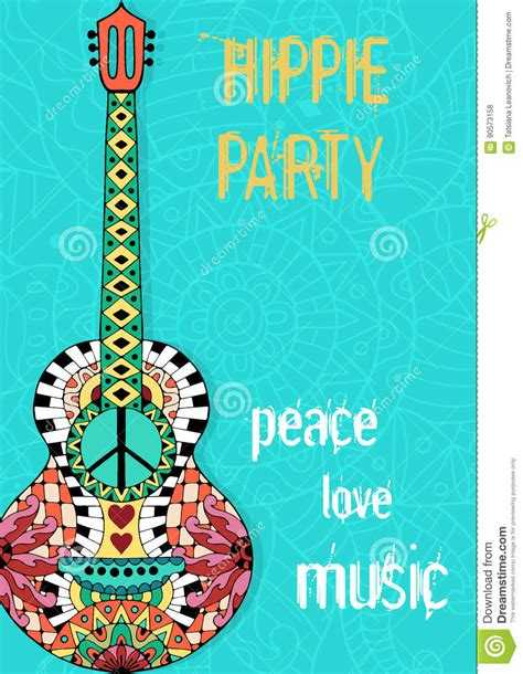 hippie party poster hippy background  acoustic guitar vector illustration cartoondealer