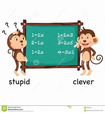 Stupid Clever Opposite Words Illustration Cartoon Vector