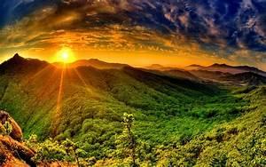 Sunrise, Sun, Red, Sky, Cloud, Tsoncheva, Rays, Mountain, With, Dense, Green, Forest, Wallpaper, For, Desktop