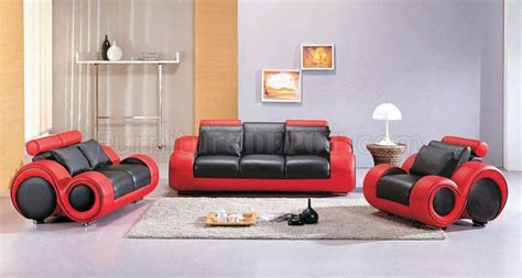 Red And Black Living Room Set : Black & Red Two-tone Leather 3pc Modern Living Room Set