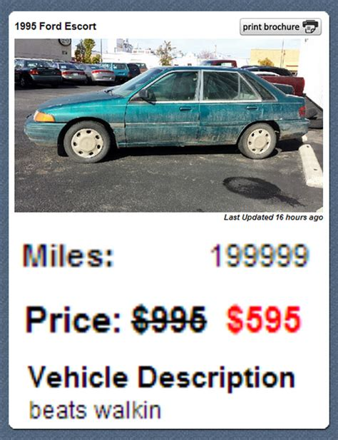 used car ads the most honest used car ad ever funny pictures funny