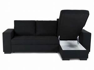 Conforama Canapé D Angle Convertible : canap d 39 angle convertible scott coloris noir vente de ~ Nature-et-papiers.com Idées de Décoration