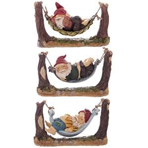 gnome sleeping in hammock one from a choice of three