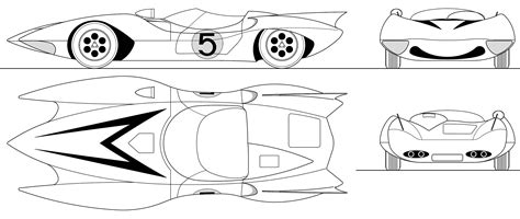 Speed Racer Mach 5 Blueprint - Download free blueprint for