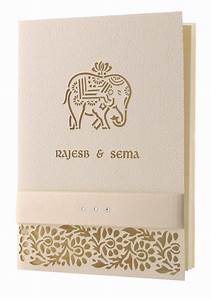 Cream metallic elephant laser cut indian hindu asian for Laser cut hindu wedding invitations