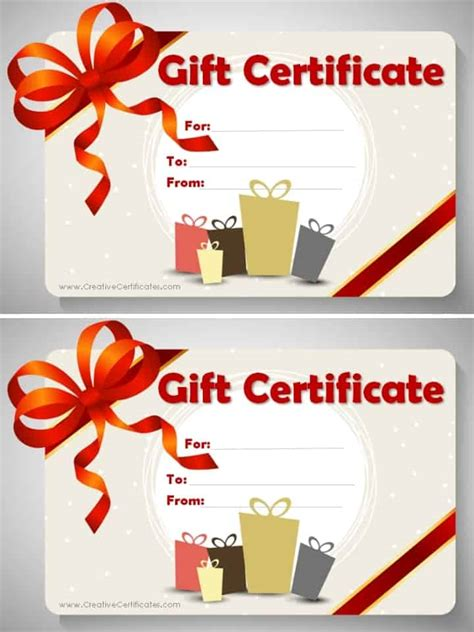 gift certificate template customize