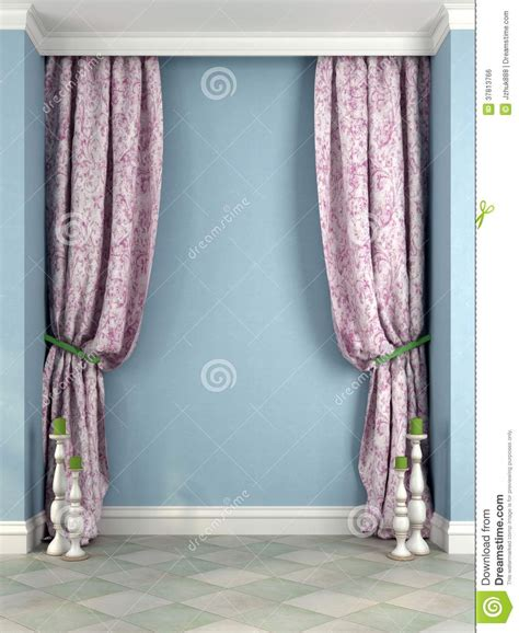 beautiful pink curtains and candlesticks against a blue