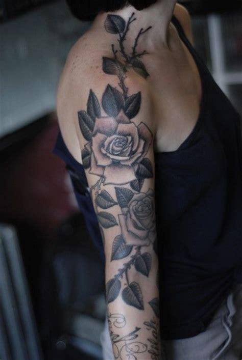 black  grey rose  sleeve tattoo  feminine
