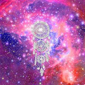 Galaxy Nebula Glitter dreamcatcher Pink Purple Space Art Print