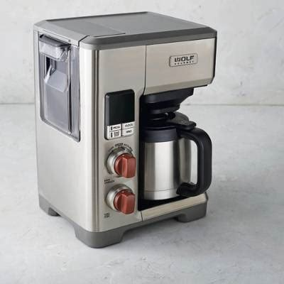 A wolf coffee maker is a large capacity coffee maker that can brew 10 cups of superior tasting coffee at a time. Wolf Gourmet Automatic Drip Coffee Maker   Frontgate