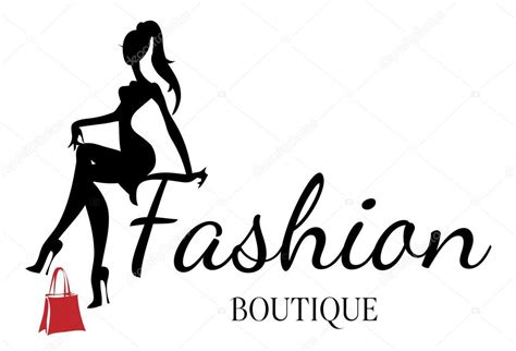 fashion boutique logo with black and white woman silhouette vector stock vector 169 sofiapink