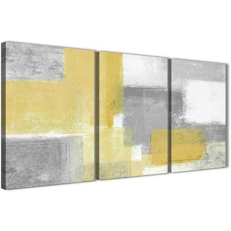 3 panel mustard yellow grey kitchen canvas wall art decor abstract 3367 126cm set of prints