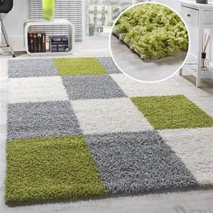 Teppich Grün Weiß : teppich shaggy karo zottel gr n grau creme hochflor teppiche ~ Indierocktalk.com Haus und Dekorationen