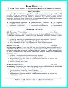 chef sle resume templates executive chef resume template