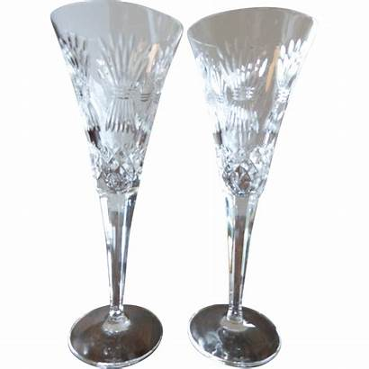 Champagne Waterford Flutes Crystal Millennium Series Pattern