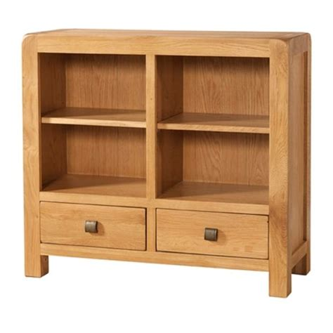 Bookcases Denver by Denver 2 Drawer Low Bookcase Quality Oak Furniture From