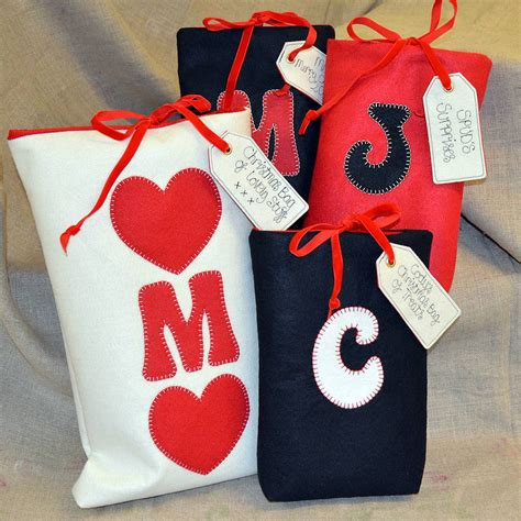 traditional personalised christmas bags by sew very
