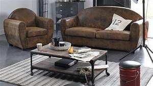 Table basse style industriel salon accueil design et for Canapé design industriel