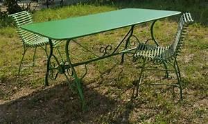 Table de jardin rectangulaire en métal fer forgé Arras