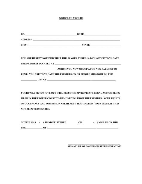 30 day notice to vacate letter best photos of sle 30 day notice form 30 day notice