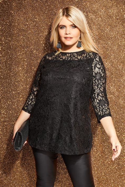 Black Lace Swing Top Plus Size 16 To 36