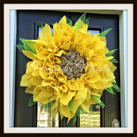 Burlap Sunflower Wreath Br134 Designs By Michela