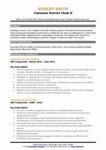 Entry Level Communications Resume Customer Service Clerk Resume Samples Qwikresume