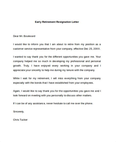 sle resignation letter for retirement