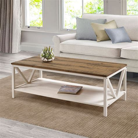 Unique diy coffee tables, all hand when you dont want your interior look and beautiful coffee will always look and if you. Welwick Designs Distressed Rustic Modern Farmhouse Coffee Table -Reclaimed Barnwood/White ...