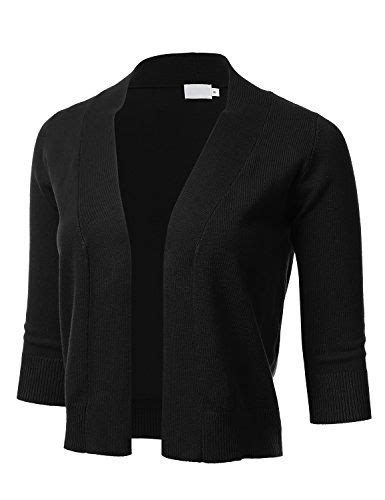 FLORIA Womens Classic 3/4 Sleeve Open Front Cropped Cardi