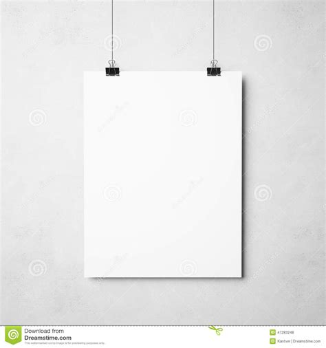 white poster  concrete background stock photo image